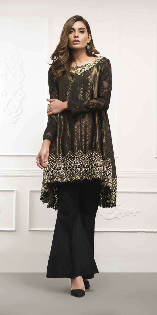 Luxury Pret, Pakistani Fashion Designer BLACK PEPLUM - Phatyma Khan