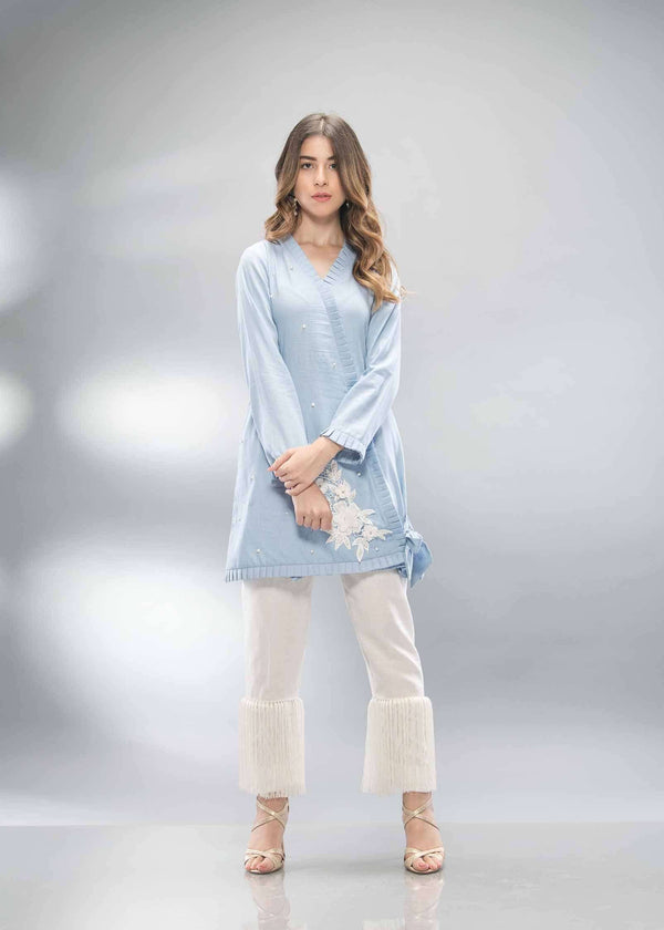 DENIM PEARL WRAP - Phatyma Khan  [product_price] [product_description] - Luxury Pret - Women's Designer Clothing #luxurypret
