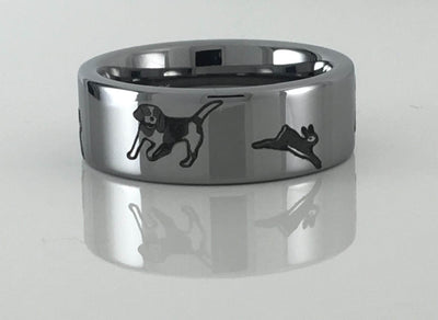 Tungsten Carbide Beagle and Rabbit Ring