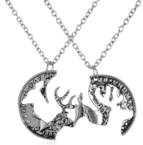 Necklaces - Buck And Doe Interlocking Pendant Necklaces