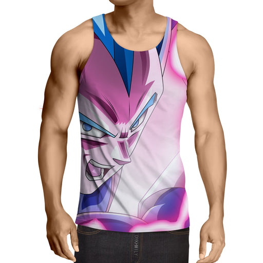 Dragon Ball Vegeta God Blue Portrait Angry 3D Print Dope Tank Top