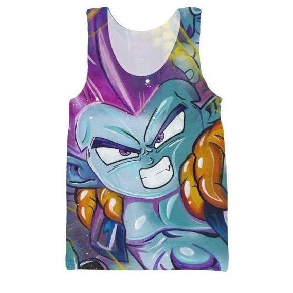 Angry Gotenks Fusion Dance Graffity Art 3D Tank Top