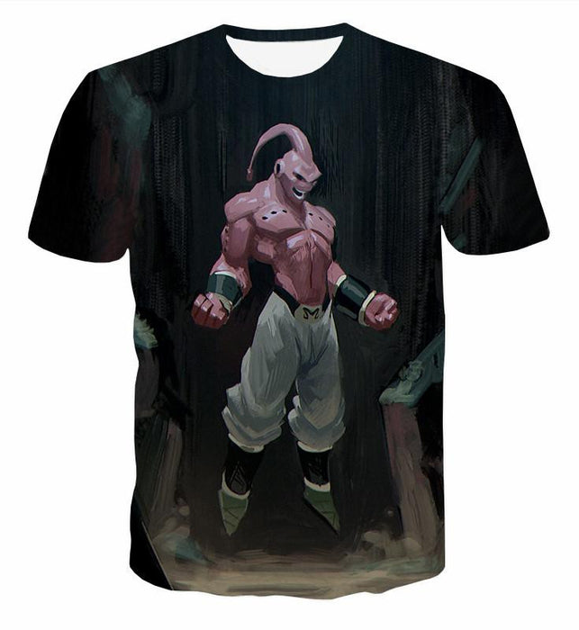 Majin Buu Pure Evil Black Painting Graffiti Art 3D T-Shirt - Saiyan Stuff