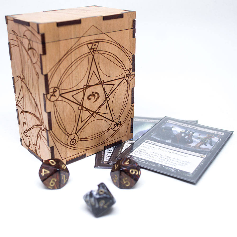 Cthulhu - H. P. Lovecraft - Magic the Gathering Deck Box or Dice Box - MTG - Personalized Trading Card Game Box Engraved Cherry Wood