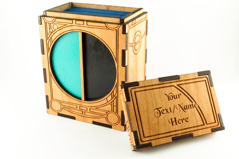 Unique Ornate Art Deco Wooden TCG Deck Box for Magic the Gathering or other Tabletop Gaming