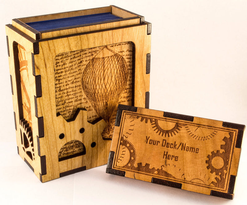 Handmade Wooden Steampunk TCG Magic the Gathering Card Deck Box or Tabletop Game