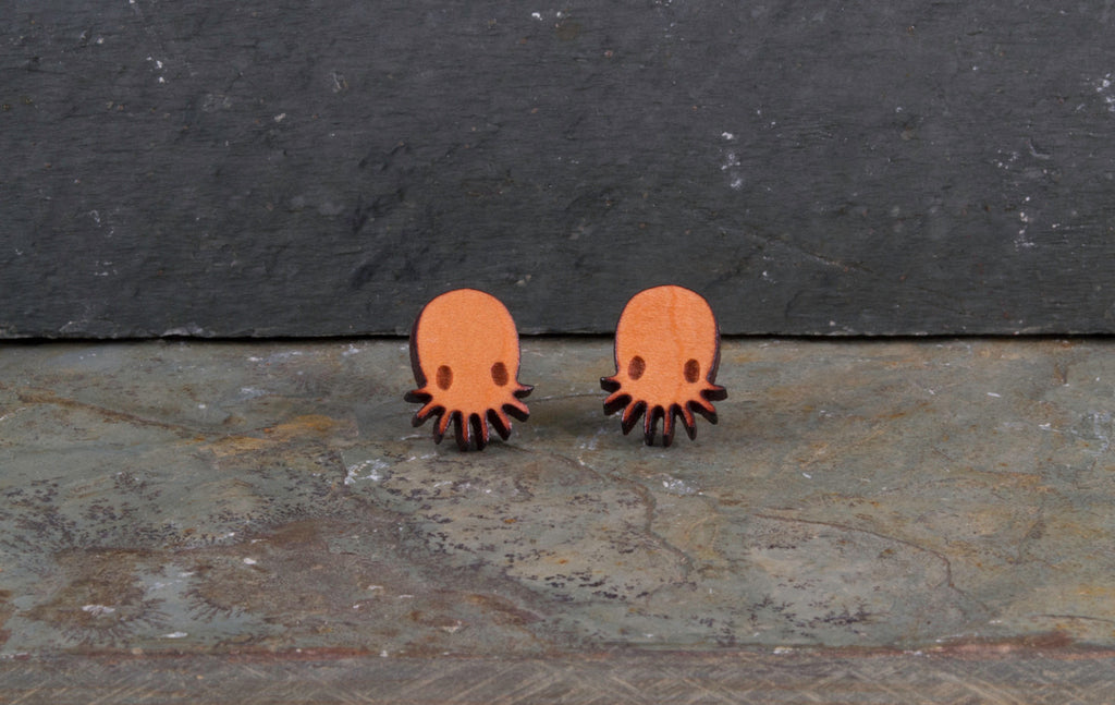 Chibi Octopus Pair Engraved Wood Earrings