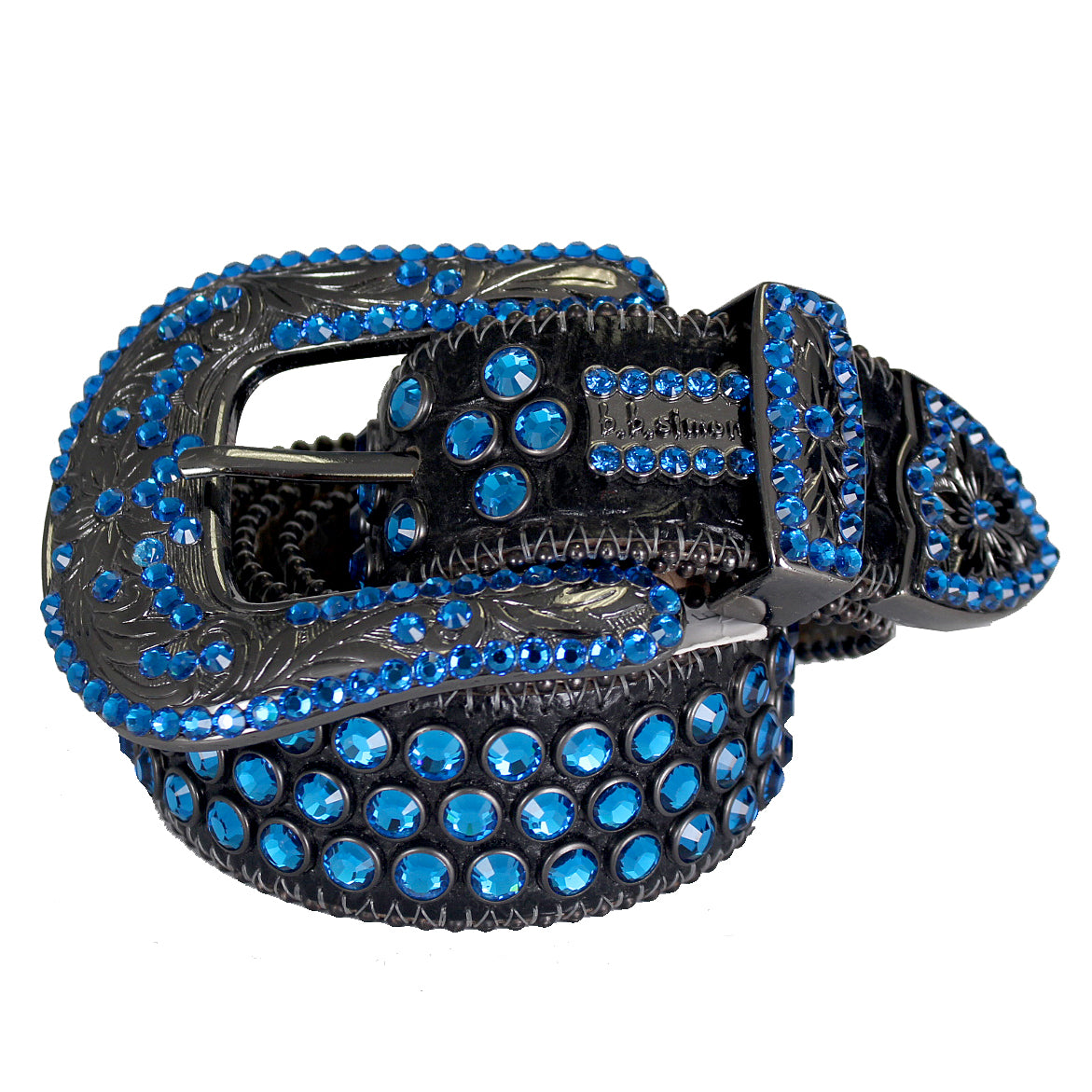 Sapphire Leather Belt W/Swarovski Elements