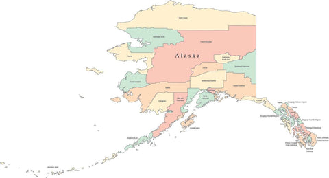 Multi Color Alaska Map with Counties and County Names