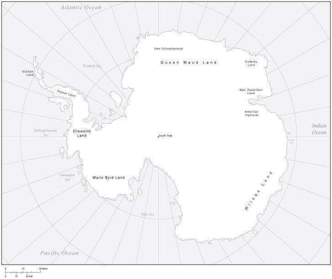 Digital Antarctica Map - Black & White