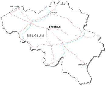 Belgium Black & White Map with Capital, Major Cities, Roads, and Water Features