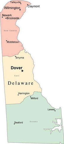 Multi Color Delaware Map with Counties, Capitals, and Major Cities