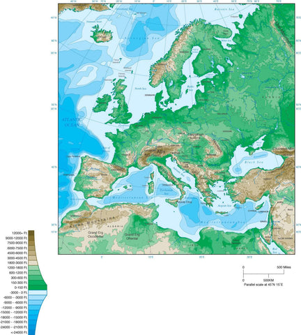 Digital Europe Contour map in Adobe Illustrator vector format.