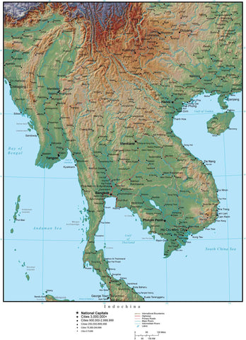 Indochina Terrain map in Adobe Illustrator vector format with Photoshop terrain image INDOCH-952860