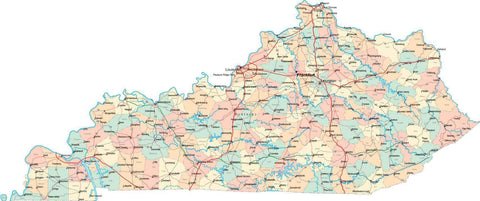 Kentucky State Map - Multi-Color Style - Fit Together Series
