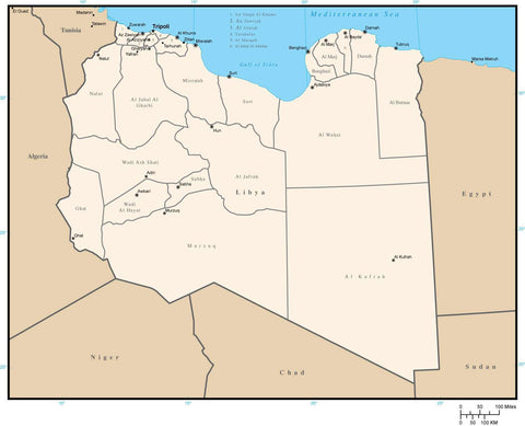 Libya Digital Vector Map with District Areas and Capitals