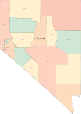 Multi Color Nevada Map with Counties and County Names