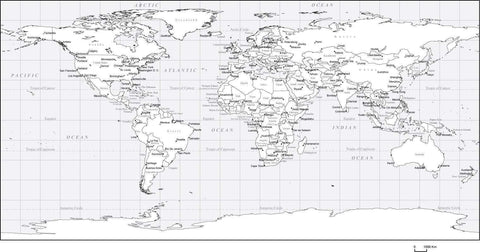 Black & White World Map with Countries  Capitals and Major Cities - PLTCRE-253517