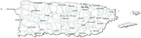 Puerto Rico Black & White Map with Capital, Major Cities, Roads, and Water Features