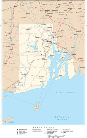 Rhode Island Map with Capital, County Boundaries, Cities, Roads, and Water Features