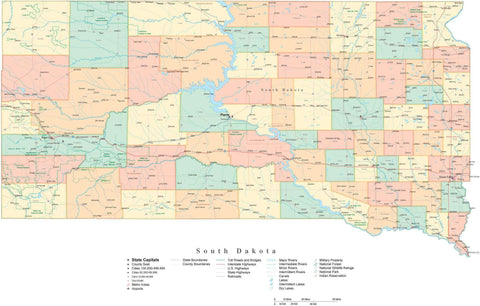 Detailed South Dakota Cut-Out Style Digital Map with Counties, Cities, Highways, and more