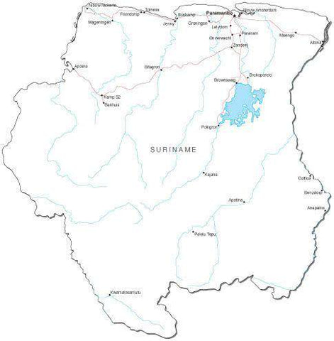 Suriname Black & White Map with Capital, Major Cities, Roads, and Water Features
