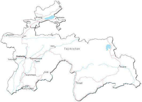Tajikistan Black & White Map with Capital, Major Cities, Roads, and Water Features
