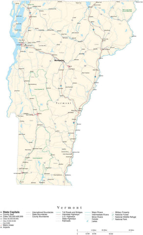 Detailed Vermont Cut-Out Style Digital Map with County Boundaries, Cities, Highways, and more