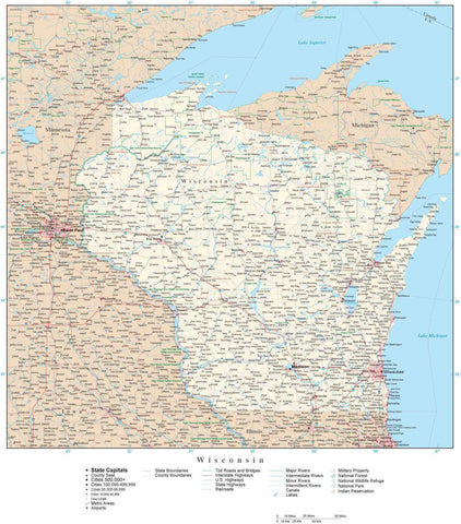 Detailed Wisconsin Digital Map with County Boundaries, Cities, Highways, and more