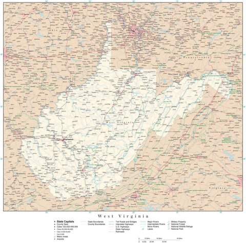 Detailed West Virginia Digital Map with County Boundaries, Cities, Highways, and more