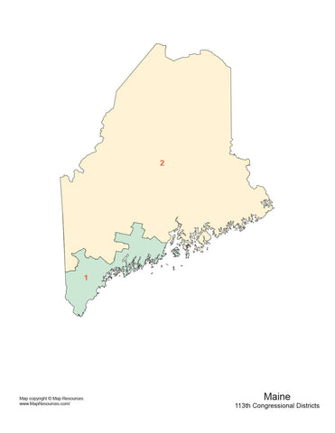 Maine Map with Congressional Districts
