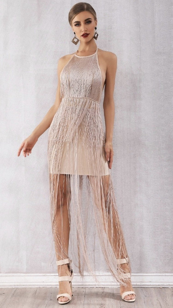 Jessica Bara Tonino Fringe Rose Gold Mini Dress