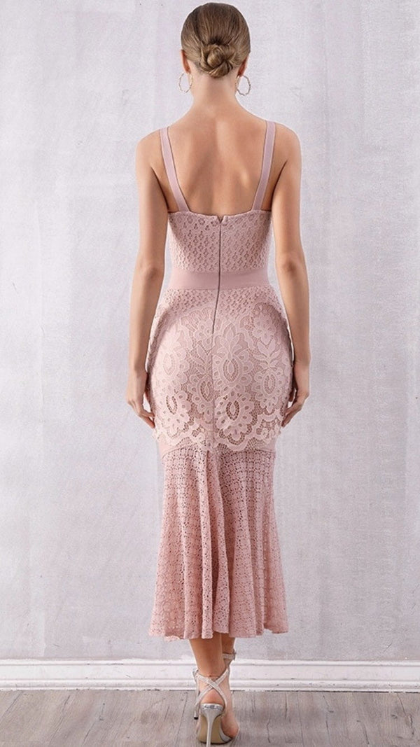 Jessica Bara Yolanda Lace Midi Dress