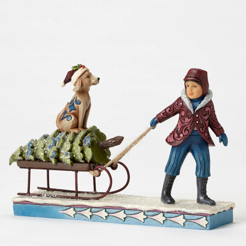 """Christmas State Of Mind"" - Victorian Child Pulling Sled Jim Shore Heartwood Creek"