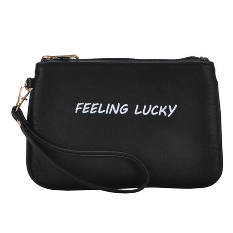 Mechaly Women's Slogan Lucky Black Vegan Leather Wallet