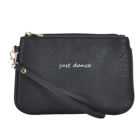 Mechaly Women's Slogan Dance Black Vegan Leather Wallet