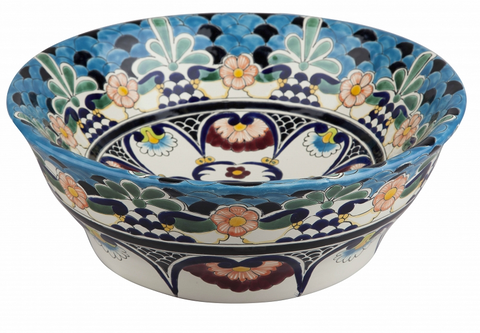 Mexican La Reina Upright Vessel Hand-painted Bathroom Basin
