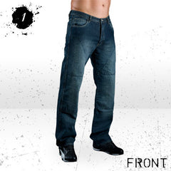 HORNEE SA-M3 RELAX FIT MOTORCYCLE JEANS BRUISED WASH SHORT LEG BLUE - Hornee -  - MSG BIKE GEAR - 1