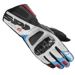 Spidi STR 5 Leather Sports Gloves - White / Blue / Red