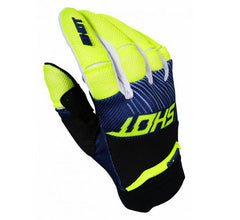 Shot MX Aerolite Optica Motocross Gloves Blue/Neon Yellow