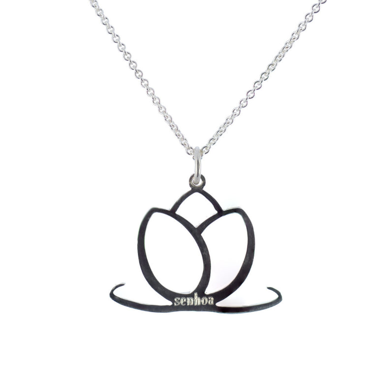 Charmed Sterling Silver Lotus Flower Pendant Necklace