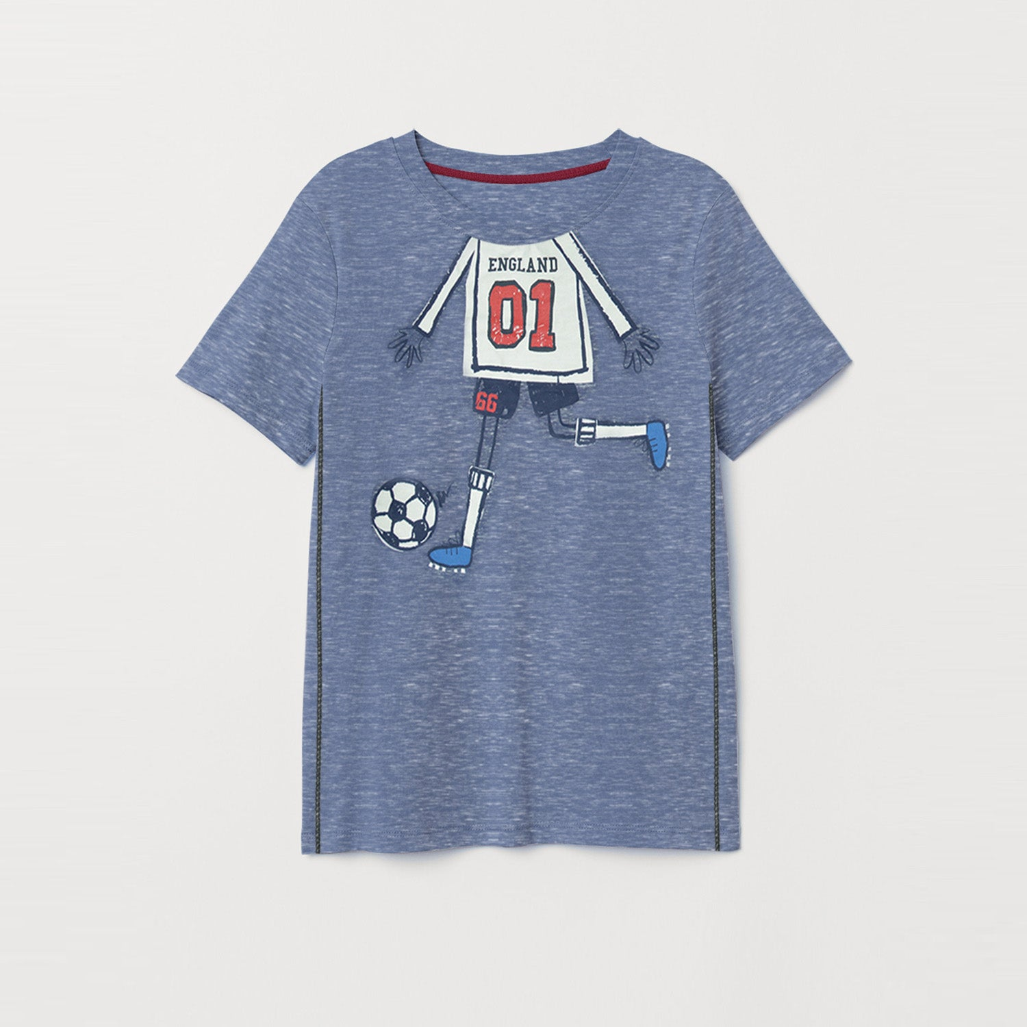9e38ea51c Next Crew Neck Single Jersey Tee Shirt For Kids-Blue Melange with  Print-BE9033