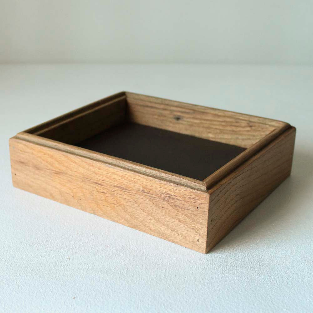 Leather Lined Valet Tray - Purple Leather with Warm Oak Sides