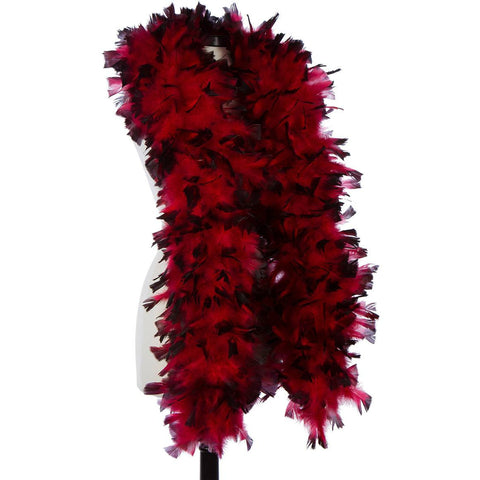 Red with Black Tip 150 Gram Turkey Feather Boa on Manikin