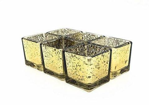 "Mercury gold 6"" Cube Vase Glass wedding centerpiece"