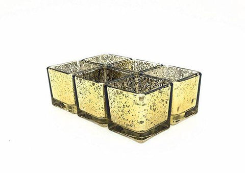 "Mercury gold 5"" Cube Vase Glass wedding centerpiece"