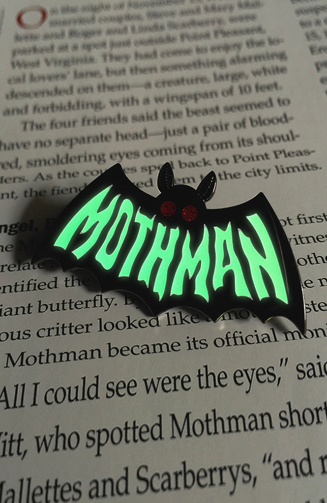 Mothman Symbol ENAMEL PIN - Glow in the Dark
