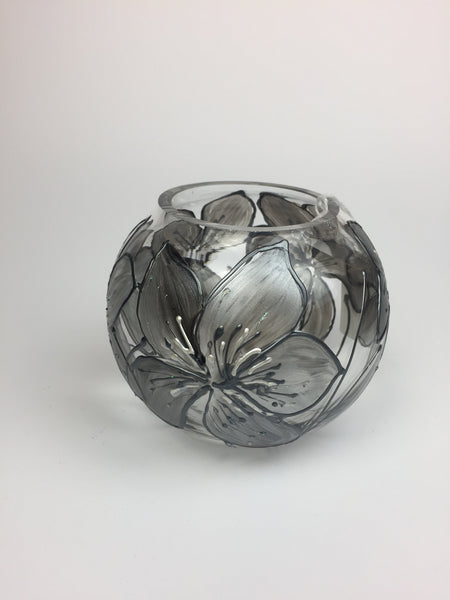 candle holder silver rose