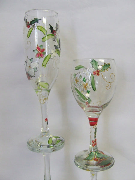 christmas glasses, holly