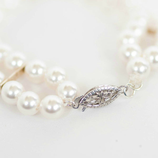 Silver and white pearl bridal bracelet by J'Adorn Designs